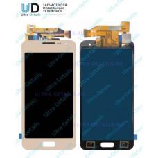 Дисплей Samsung A300F (A3) в сборе с тачскрином (золотой) переклееный оригинал