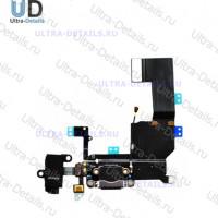 Шлейф iPhone 5C на системный разъем/разъем гарнитуры/микрофон (черный)