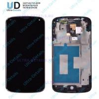 Дисплей LG E960 в сборе с тачскрином (черный) с рамкой