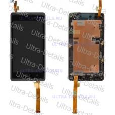 Дисплей HTC Desire 600 Dual в сборе с тачскрином (черный) с рамкой