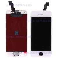 Дисплей iPhone 5S в сборе с тачскрином (белый) (Переклееный Оригинал)