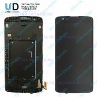 Дисплей LG K350E (K8 LTE) в сборе с тачскрином (черный) с рамкой