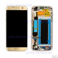 Дисплей Samsung G935F (S7 Edge) в сборе с тачскрином (золотой) Оригинал переклейный